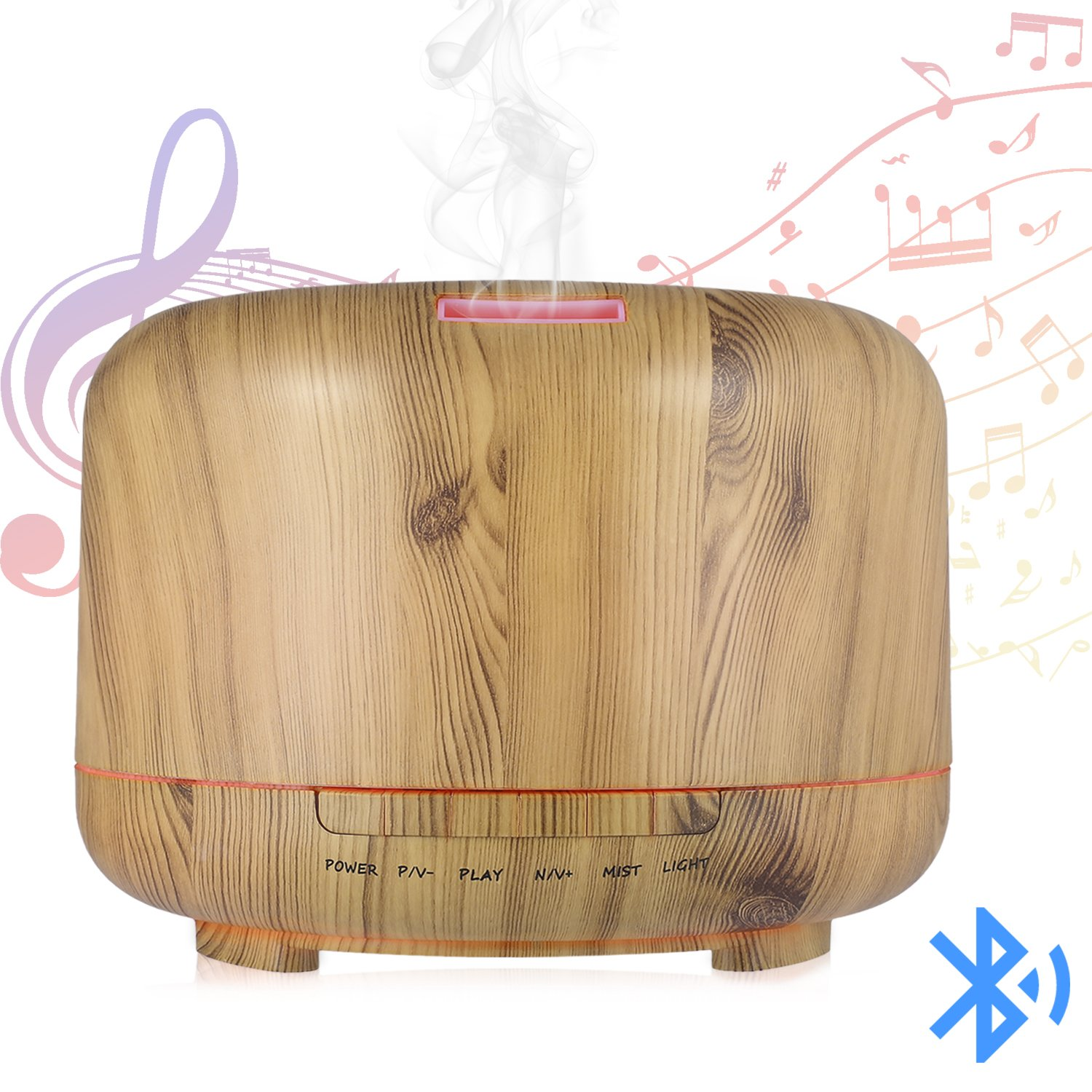 Hrome Essential Oil Diffuser Humidifier with Bluetooth Speaker and 7 Color LED Night Light, 600ml Aroma Diffuser for Baby Rooms, Bedrooms, Spa and Office, Auto Shut-Off, Wood Grain (wood texture)