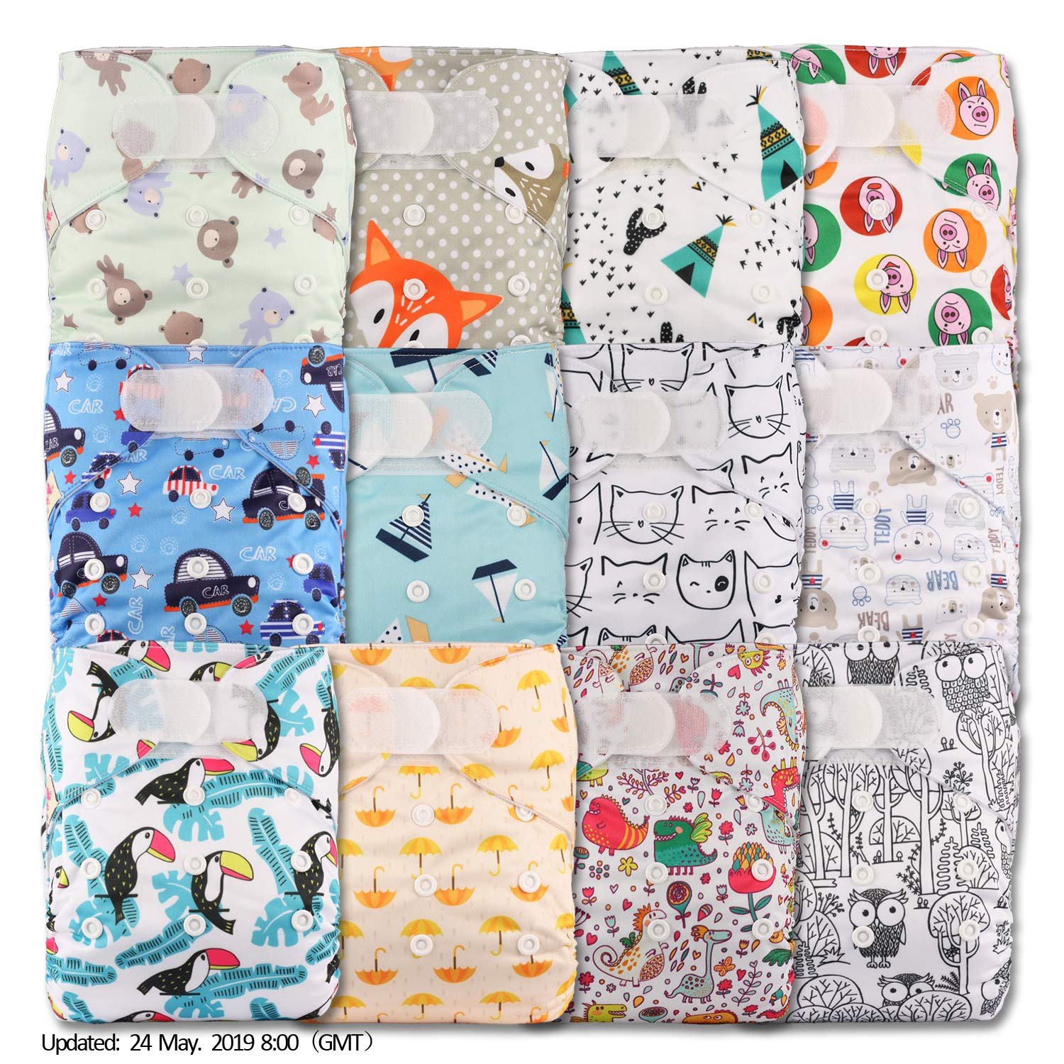 Pattern 34 Set of 1 with 1 Bamboo Insert Fastener: Hook-Loop Littles /& Bloomz Reusable Pocket Cloth Nappy