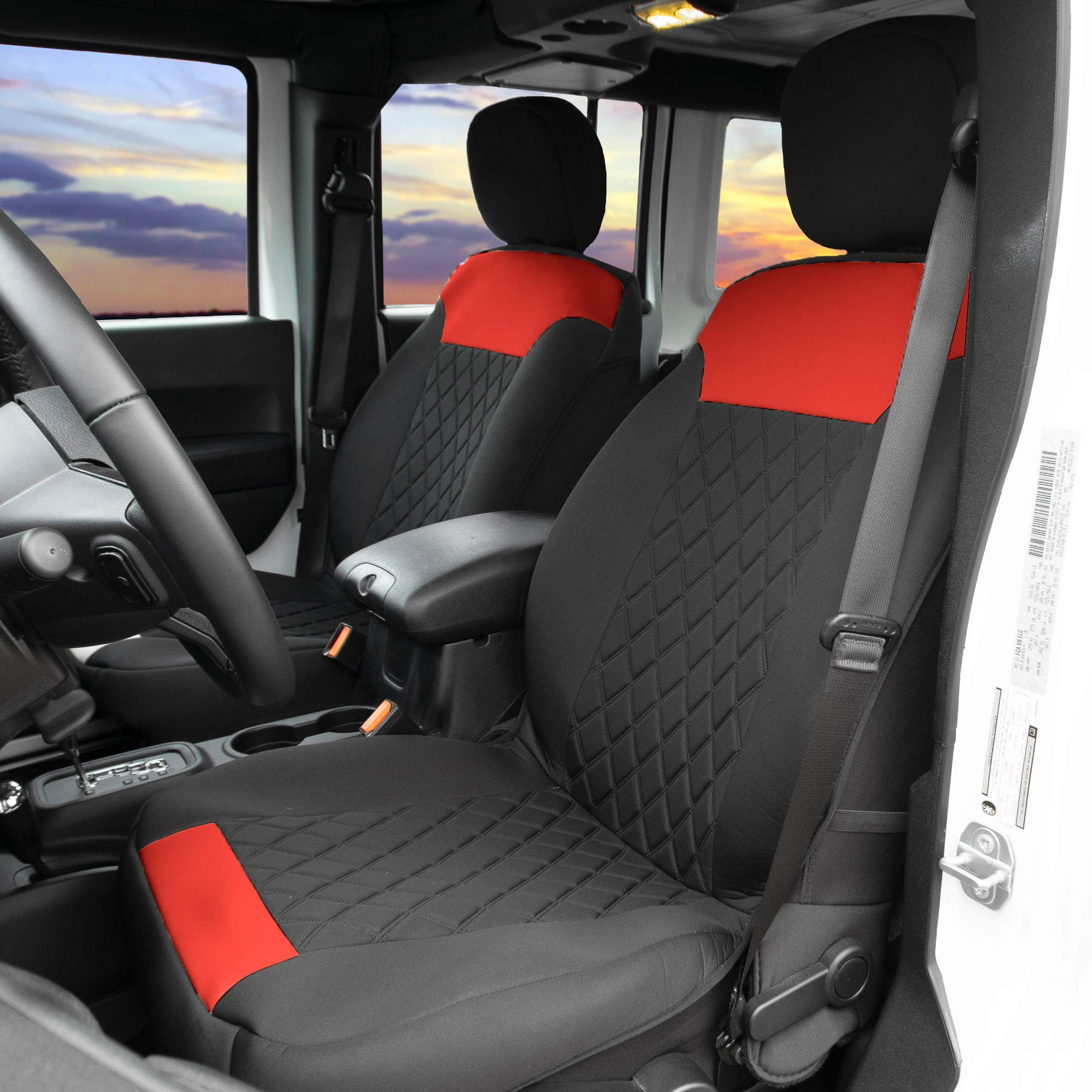 FH Group FB089REDBLACK102 Neosupreme Car Seat Cushion Set of Two Front Bucket Covers Quality Red/Black, Water Resistant, Non-Slip Backing, Easy Installation by FH Group