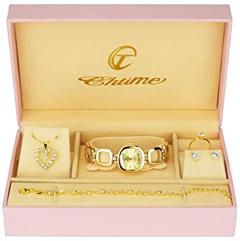 50d466b12 Gift Set Women's Watch Silver- jewelry Set- Necklace-Ring- Earrings:  Amazon.co.uk: Watches