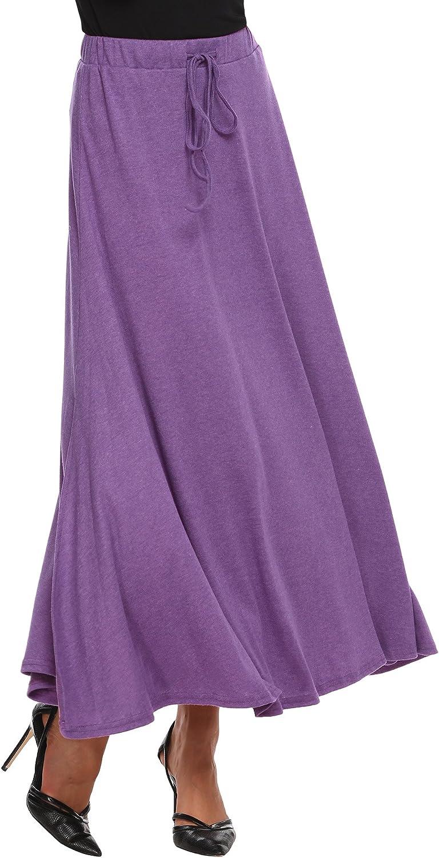 Zeagoo A Line Cotton Maxi Long Skirts Drawstring Waist