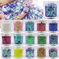 16 Colors Chunky Glitter Flakes Bulk Holographic Hexagon Iridescenet Irregular Glitter Sequins Sparkles Accessories for…