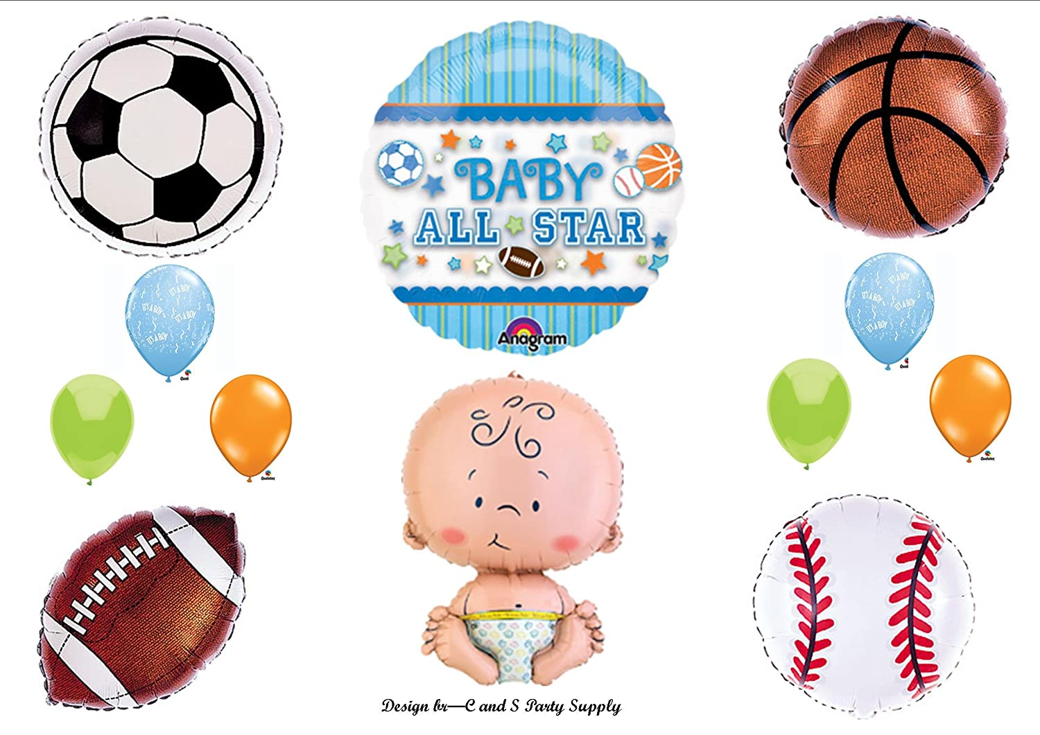 Amazon.com: Itu0027s A Boy Baby Shower All Star Sports Balloons Decorations  Supplies By Anagram: Toys U0026 Games