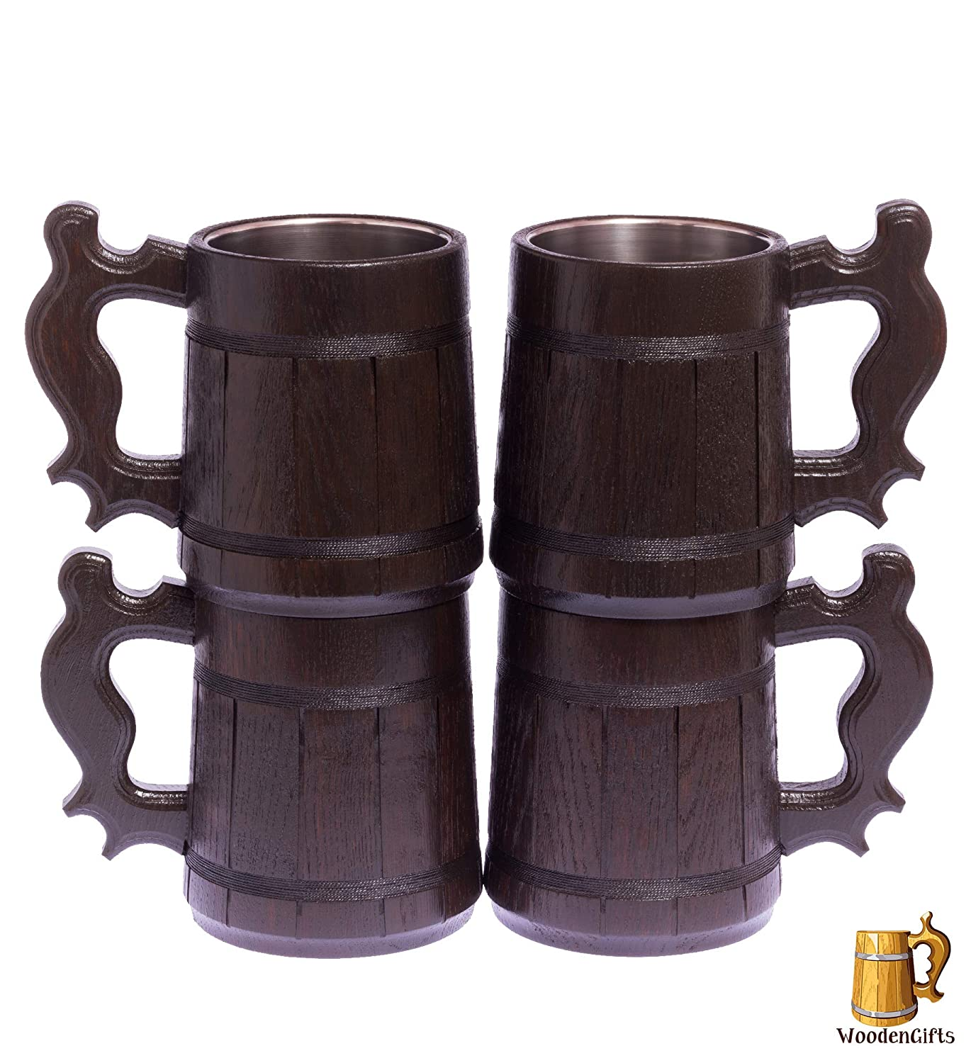 Beer Stein/Beer Mug/Tankard / Wooden Beer Mug By WoodenGifts - 0.6 Litres Or 20oz Wooden Mug - Rustic Barrel Design - Stainless Steel Cup (Beige)