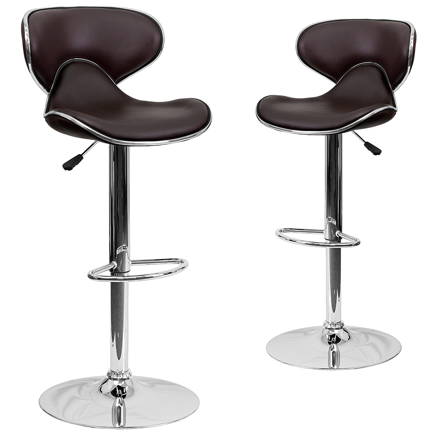 Flash Furniture 2 Pk. Contemporary Cozy Mid-Back Brown Vinyl Adjustable Height Barstool with Chrome Base