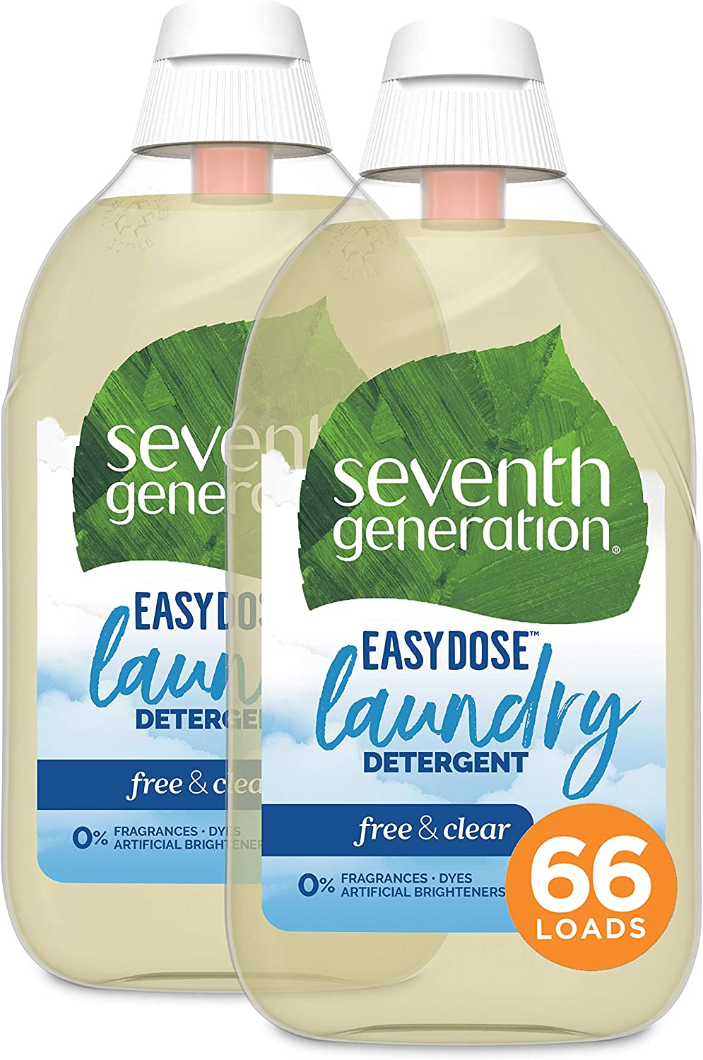 Seventh Generation Laundry Detergent, Ultra Concentrated EasyDose, Free & Clear, 23 oz, 2 Pack, 132 Loads (Packaging May Vary)