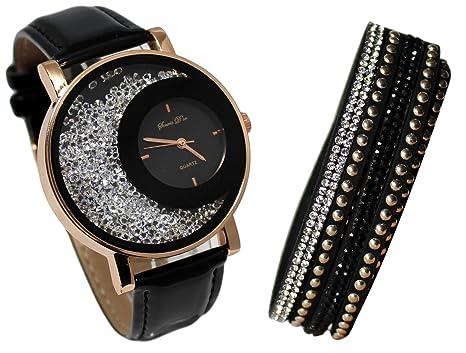 92ddceba4f1 Coffret Montre Femme doré Cuir Noir Strass + Bracelet Double Tour Stardust  Dolce Vita