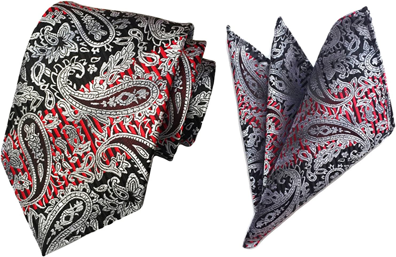 MENDENG Mens 2 Sets Paisley Stripe Tie Set Pocket Square Necktie Handkerchief