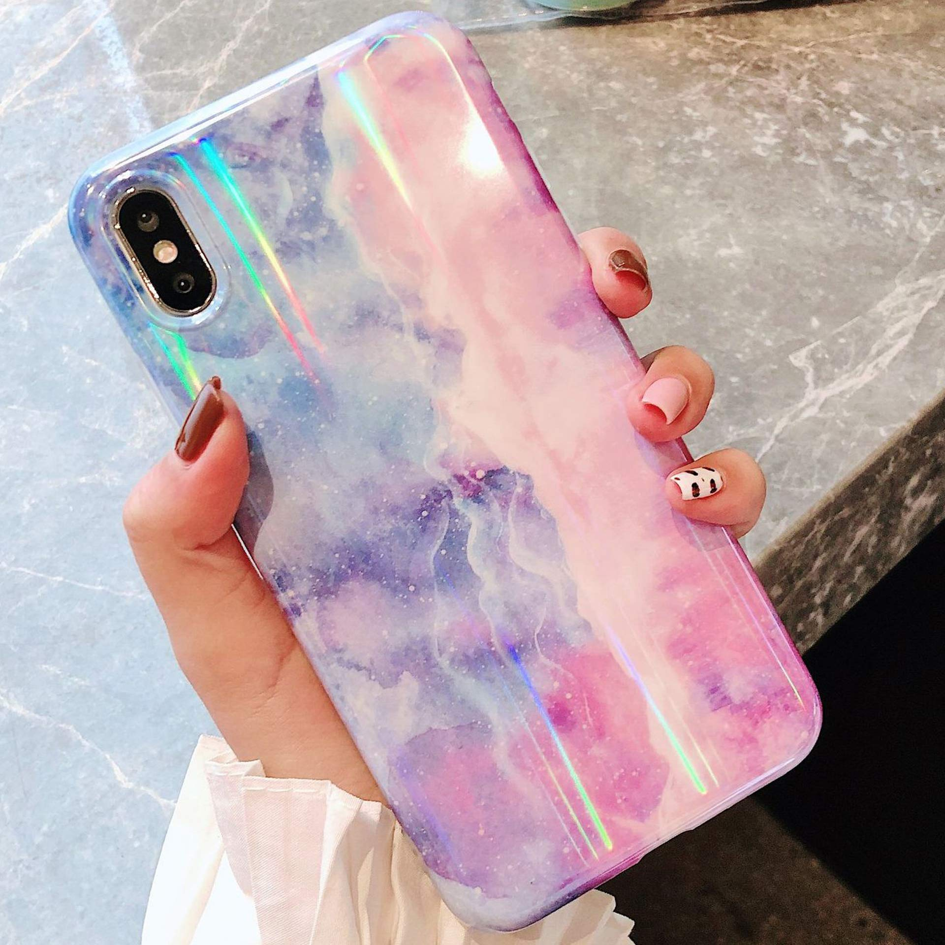 Marble Case for iPhone Xs Max Cover,Girls and Women Bling Sparkle Laser Aurora Color Gradient Marble Design Flexible Soft Rubber Gel TPU Protective Case Cover for iPhone Xs Max Silicone Case,Purple by ikasus