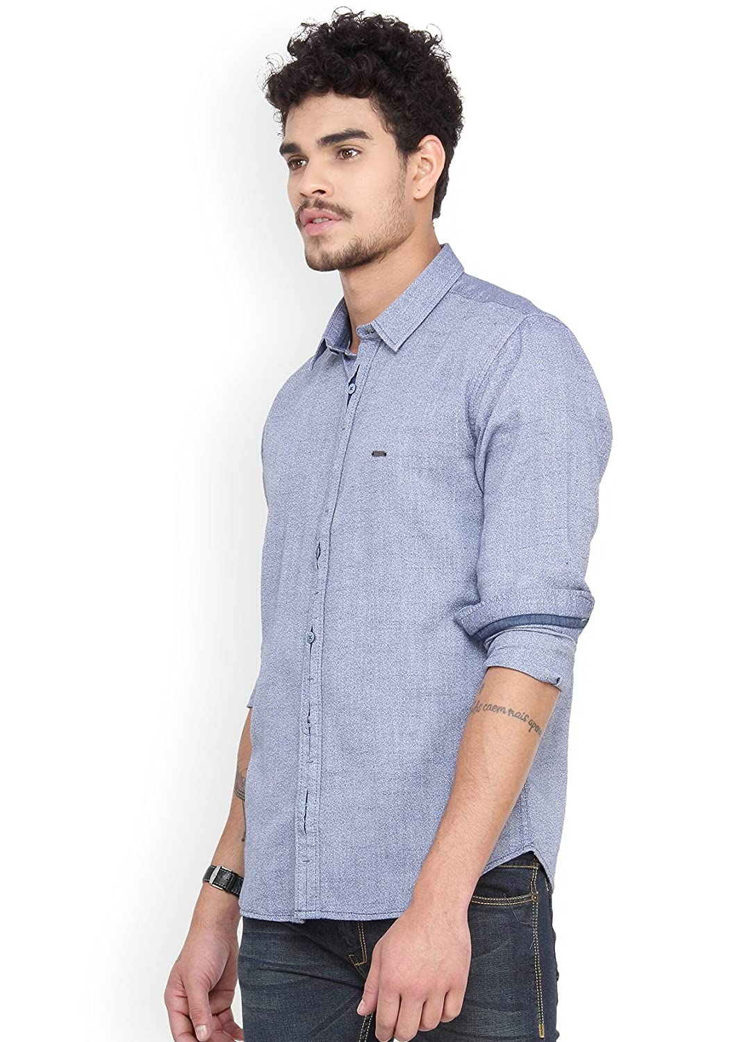 b2aabca7884 Derby Jeans Community Navy Cotton Solid Slim Fit Casual Men Shirts:  Amazon.in: Clothing & Accessories