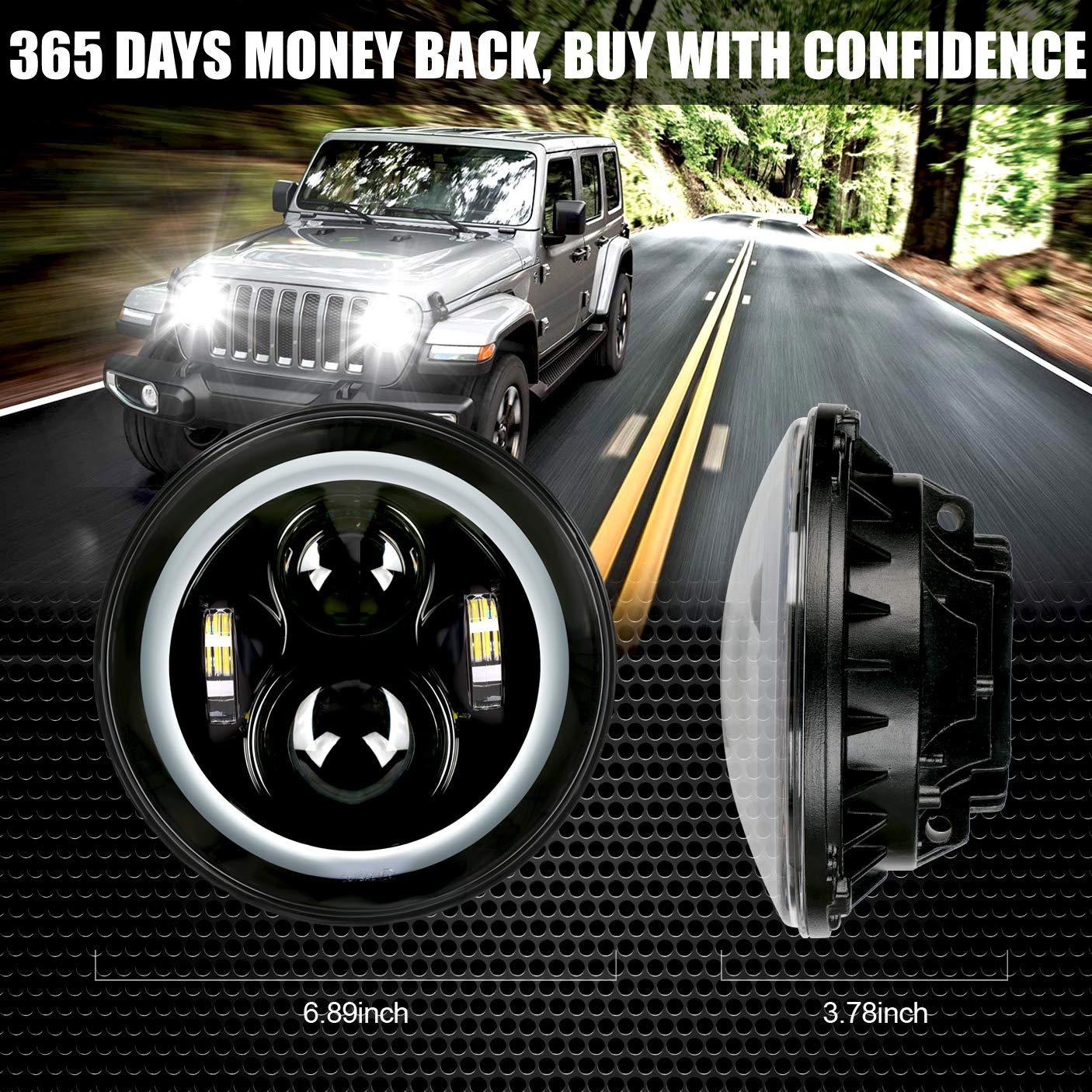 7'' Round Cree LED Headlight with White DRL Halo Ring Angel Eyes+Amber Turn Signal Light For Jeep Wrangler