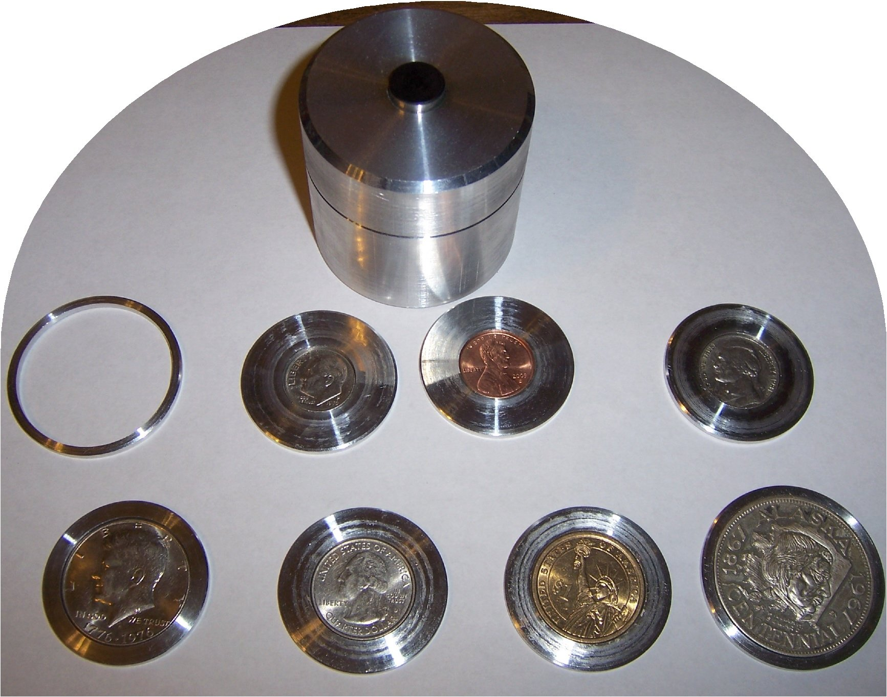 Coin Ring Center Punch Kit 1.75'' for Rounds. Comes with 3 Punches and 8 Spacers!!! by Austin Swenson
