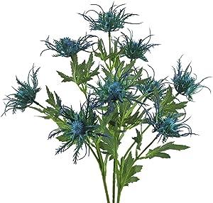 Artificial Thistle Flowers Blue Eryngium Flowers 3 Long Stems Faux Thistles Bunch Faux Plant Wedding Bouquet Centerpiece Home Kitchen Office Garden Decor