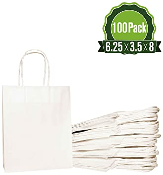 White Kraft Paper Gift Bags Bulk with Handles 6.25x3.5x8 [100 Bags]. Ideal for Shopping, Packaging, Retail, Party, Craft, Gifts, Wedding, Recycled, ...