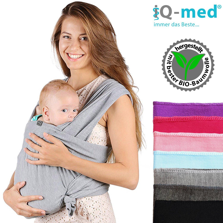 Baby écharpe de portage IQ/Med® | en coton bio | respirant et léger | | Baby Porte-bébé, faciles à Instructions inclus, chiffon, Transport, chiffon, bébé, et poignée de portage Baby Sling, Wrap Ca