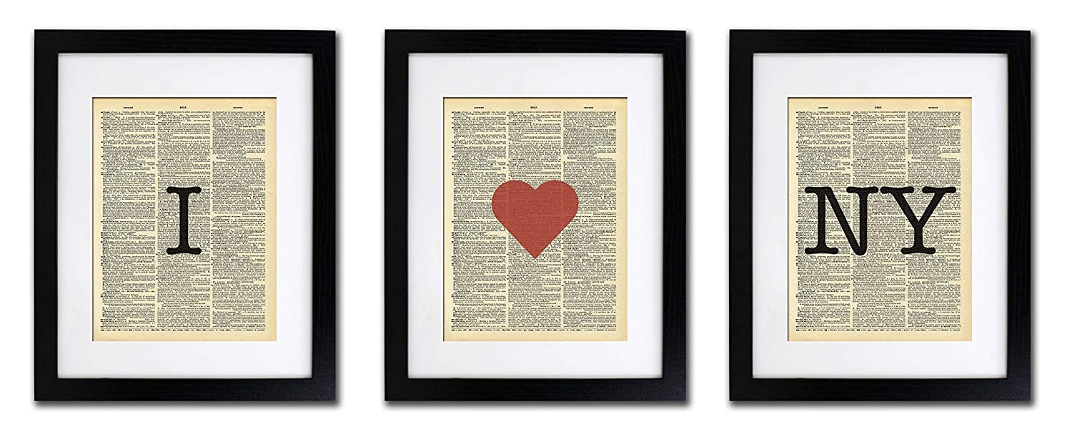 I Love New York - 3 Print Set - Vintage Dictionary Print 8x10 inch Home Vintage Art Abstract Prints Wall Art for Home Decor Wall Decorations For Living Room Bedroom Office Ready-to-Frame