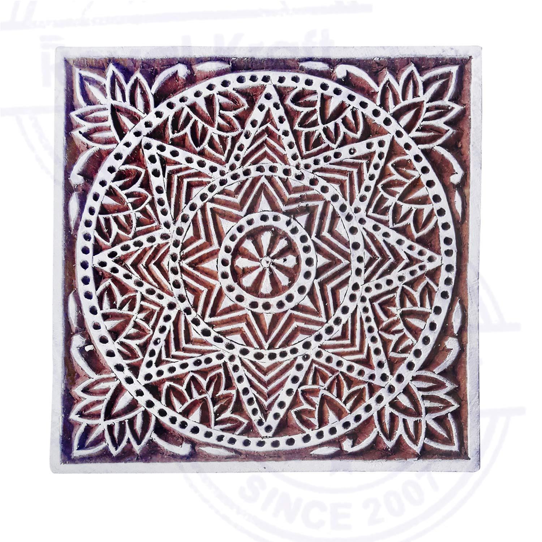 6 Inch Body Tattoo Large Wood Stamp Square Star Design Big Printing Block