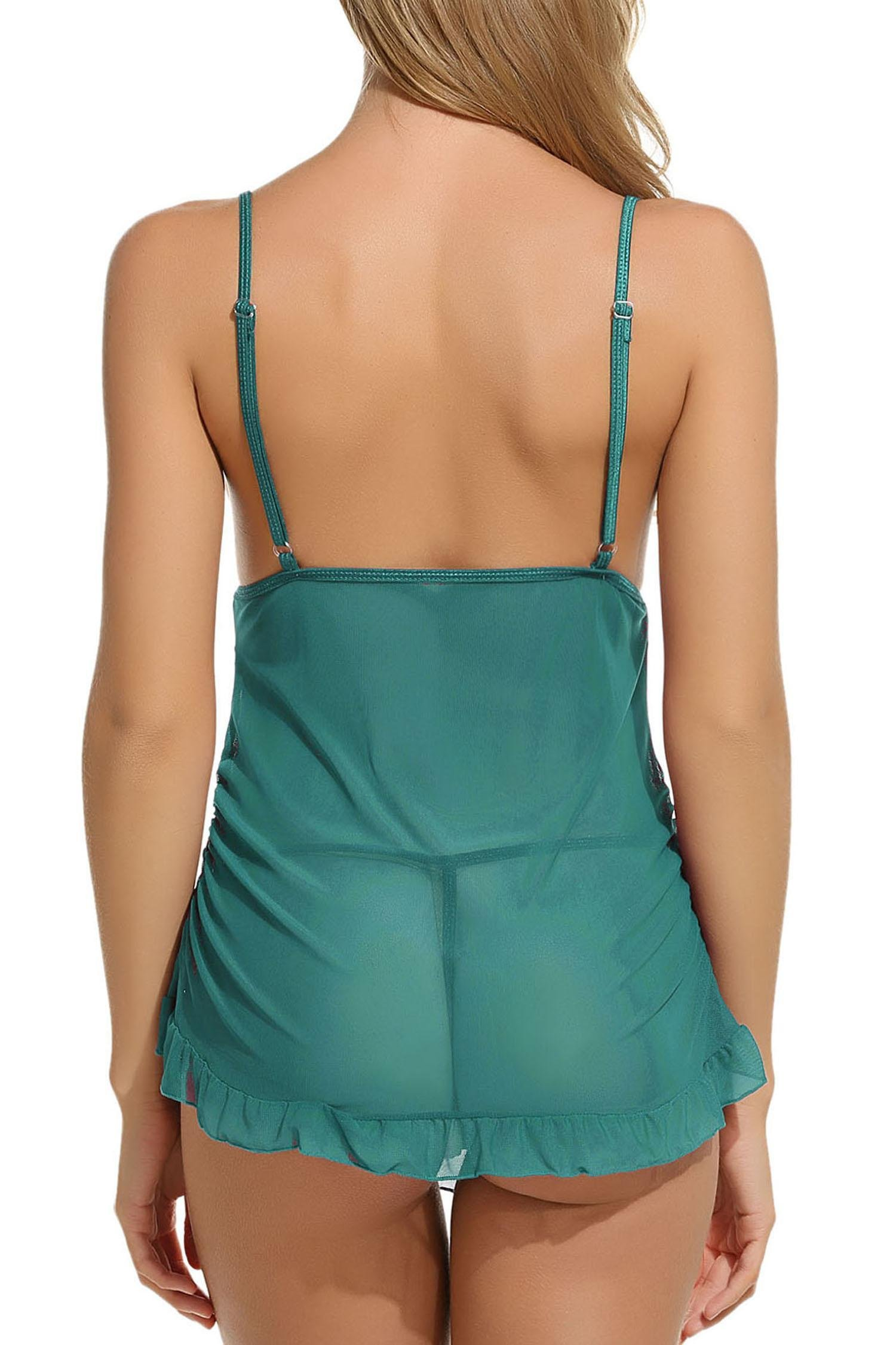 ELOVER Womens Lace Babydoll Sleepwear Halter Nightwear Sexy Lingerie Outfits