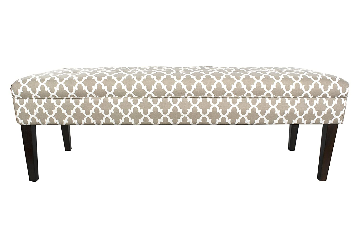 MJL Furniture Designs Kaya Collection Upholstered Padded Button Tufted Accent Bedroom Bench, Fulton Series, Snowy Kaya-FultonSnowy