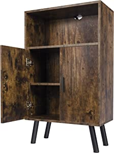 Lavievert Retro Bookcase, Bookshelf with Doors, Multipurpose Storage Cabinet, Cupboard with 2 Closed Compartments for Kitchen, Living Room, Bedroom - Rustic Brown