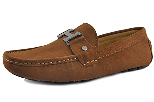 Men's Moccasin Coffee Slip On Silver Buckle Leather Loafers Causal Mens Shoes Business Shoes Car Shoes (10.5 Coffee)