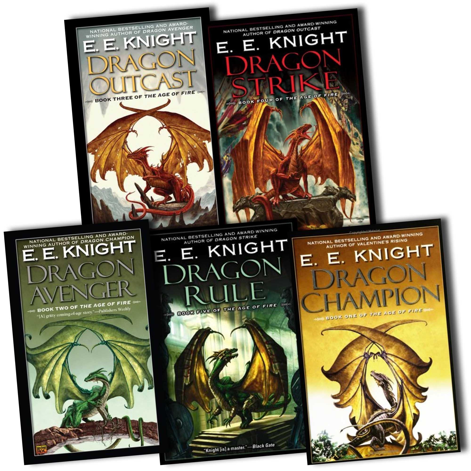 E. E. Knight Age of Fire 5 Books Collection RRP: £54.48 (Dragon Rule, Dragon  Champion, Dragon Strike, Dragon Avenger, Dragon Outcast): E. E. Knight: ...