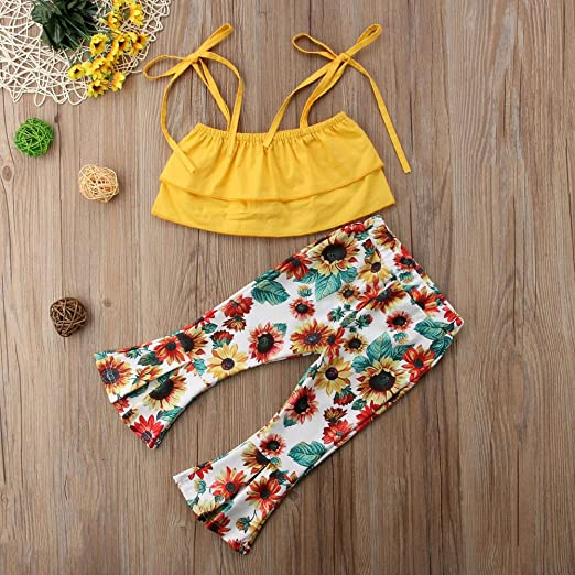 0f994fca75106 Amazon.com  Tranyee Kids Baby Girl Strappy Cami Top Floral Long Bell-Bottoms  Pants Outfits Set  Clothing