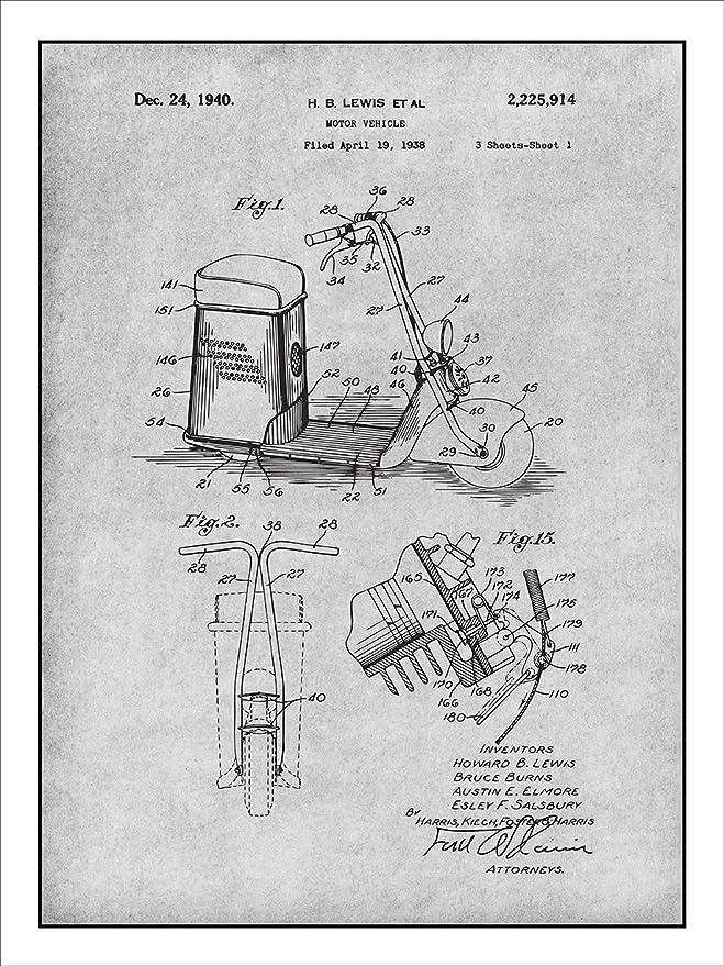Amazon Com 1938 Salsbury Motor Glide Scooter Patent Print Art