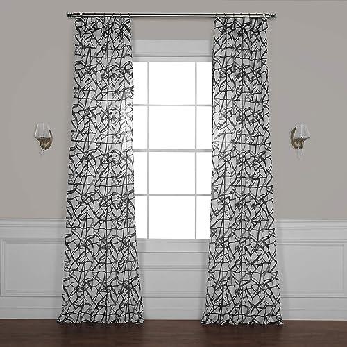 HPD Half Price Drapes SHCH-PS18044B-96 Printed Faux Linen Sheer Curtain 1 Panel , 50 X 96, Matrix Black