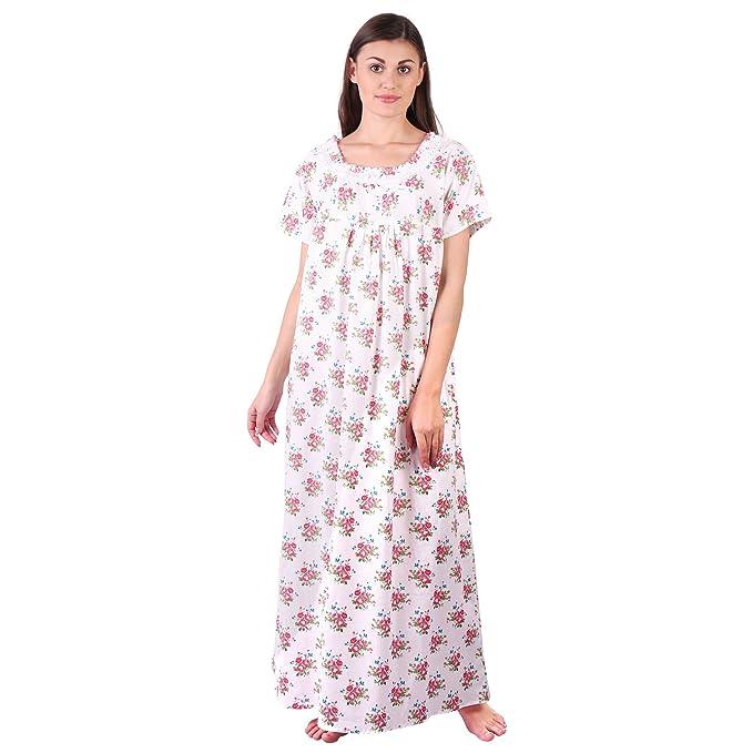 b9fc7b5648a LDHSATI Fashion Women Pure Cotton Nighty Serena Satin Flower Printed Lace Nightwear  Night Dress Sleepwear Maxi