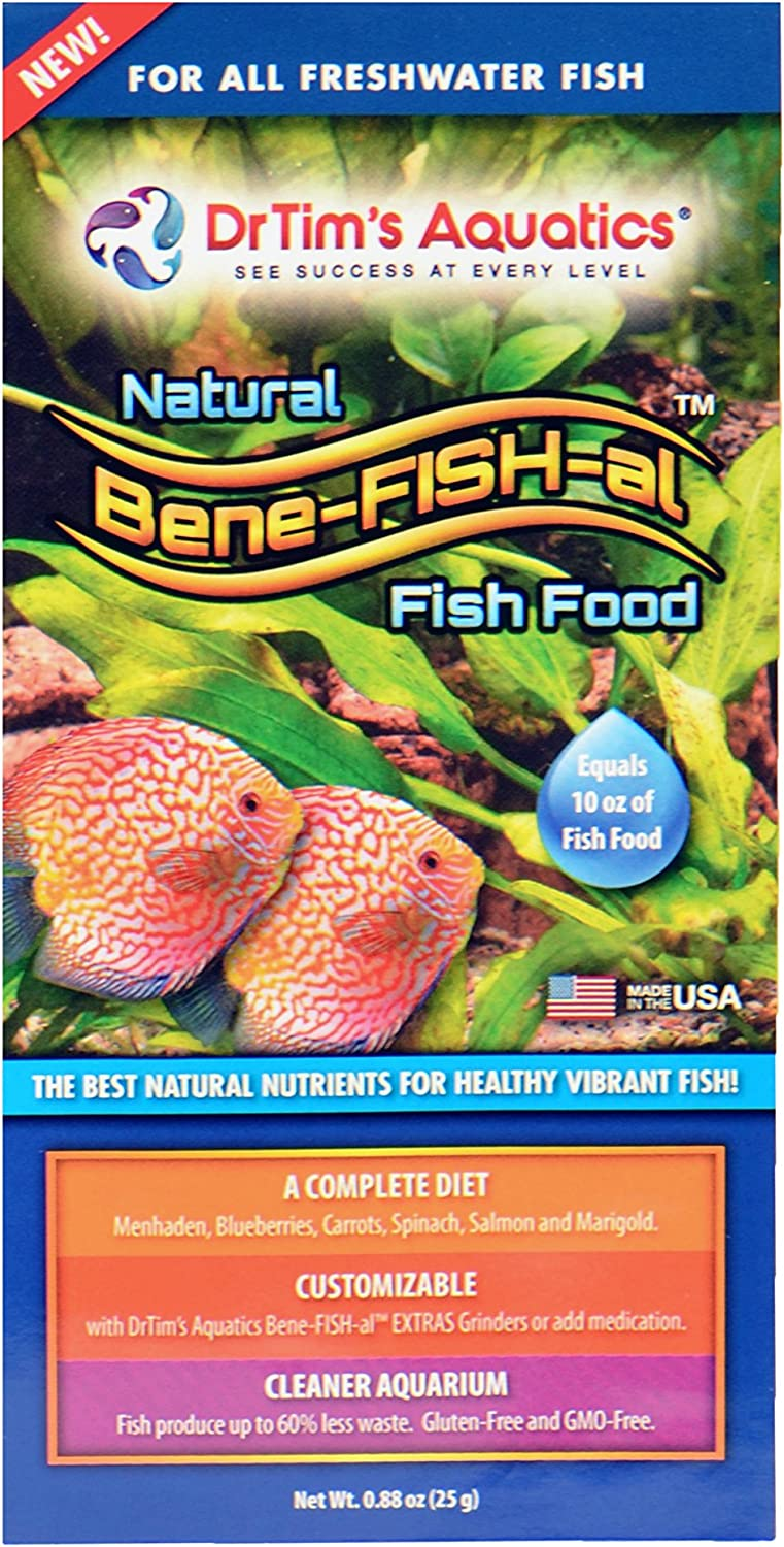 Dr. Tim's Aquatics Bene-FISH-al Freshwater Fish Food – Healthy Diet, Grain-Free, Gluten-Free – Contains Probiotics – Promotes Healthy Corals, Aquaria – Protein-Rich, All-Natural – Single Pack