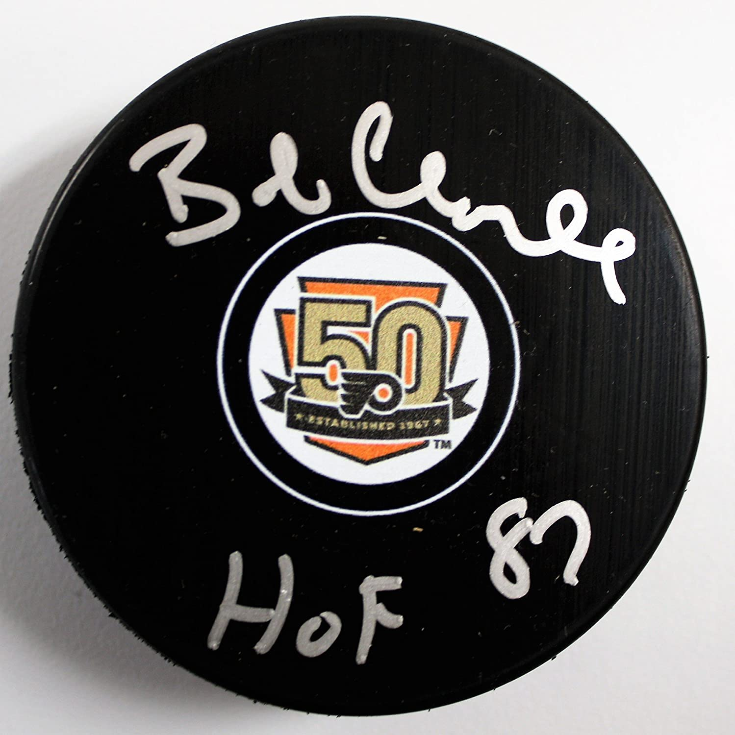4bf88d9f7 Autographed Bobby Clarke Flyers 50th Anniversary Hockey Puck with HoF 1987  with COA at Amazons Sports NHL Philadelphia ...