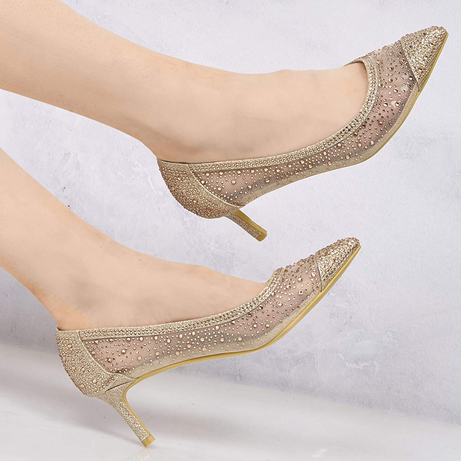 UV302 New Ladies Diamante Glitter Party Evening Low Kitten Heel Pointed Mesh Court Shoes