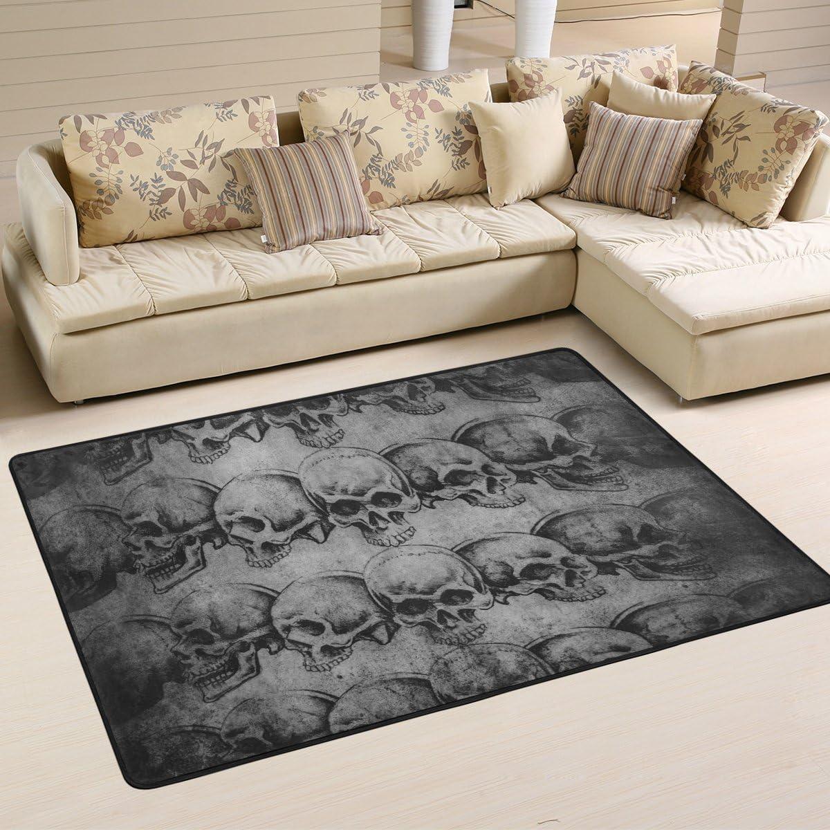 Naanle Sugar Skull Area Rug 2 x3 , Vintage Polyester Area Rug Mat for Living Dining Dorm Room Bedroom Home Decorative