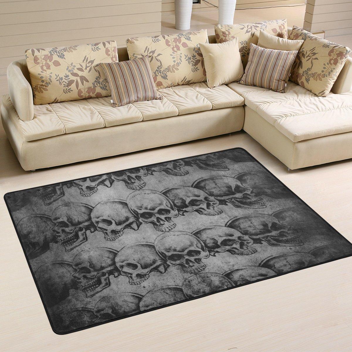 Naanle Sugar Skull Area Rug 4 x6 , Vintage Polyester Area Rug Mat for Living Dining Dorm Room Bedroom Home Decorative