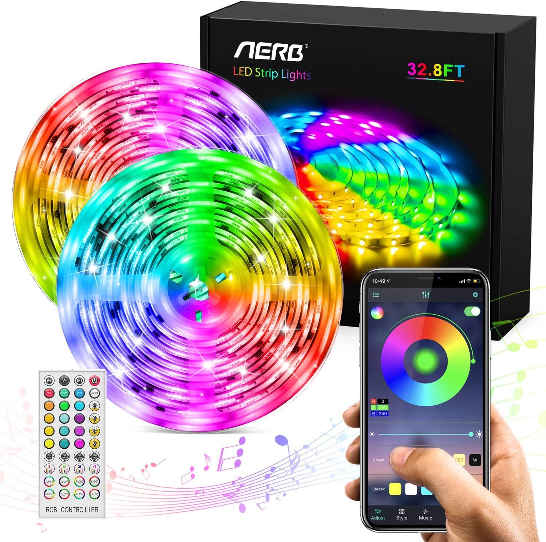 AERB 10M Bluetooth LED Tira Música, TV retroiluminada Tira RGB 5050, IP65 Impermeable, Función Música, Program Persanalizado, 300LEDs 12V 6A, APP y control remoto 44 tecla, Bares Decoraciones,Navidad