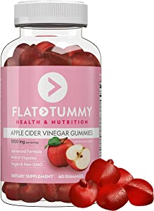 Flat Tummy Apple Cider Vinegar Gummy Vitamins - Detox, Cleanse & Weight Control - Vegan, Real Apples, Beetroot, Pomegranate, Vitamin B9, B12, with The Mother (60 Count)
