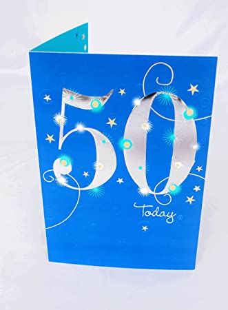 Happy 50th Birthday Card For Him Mens Male Blue Verse Poem Luxury