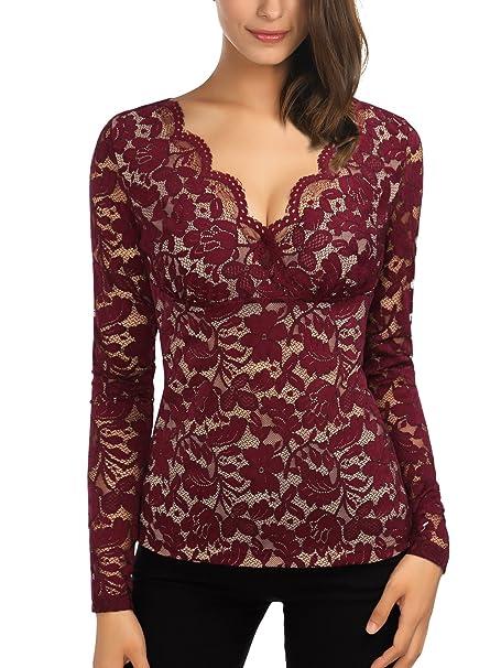 a0c63d1c68c DJT-Camiseta Blusa para Mujer de Encaje Escote Pico Morado-Rojo XX-Large:  Amazon.es: Ropa y accesorios