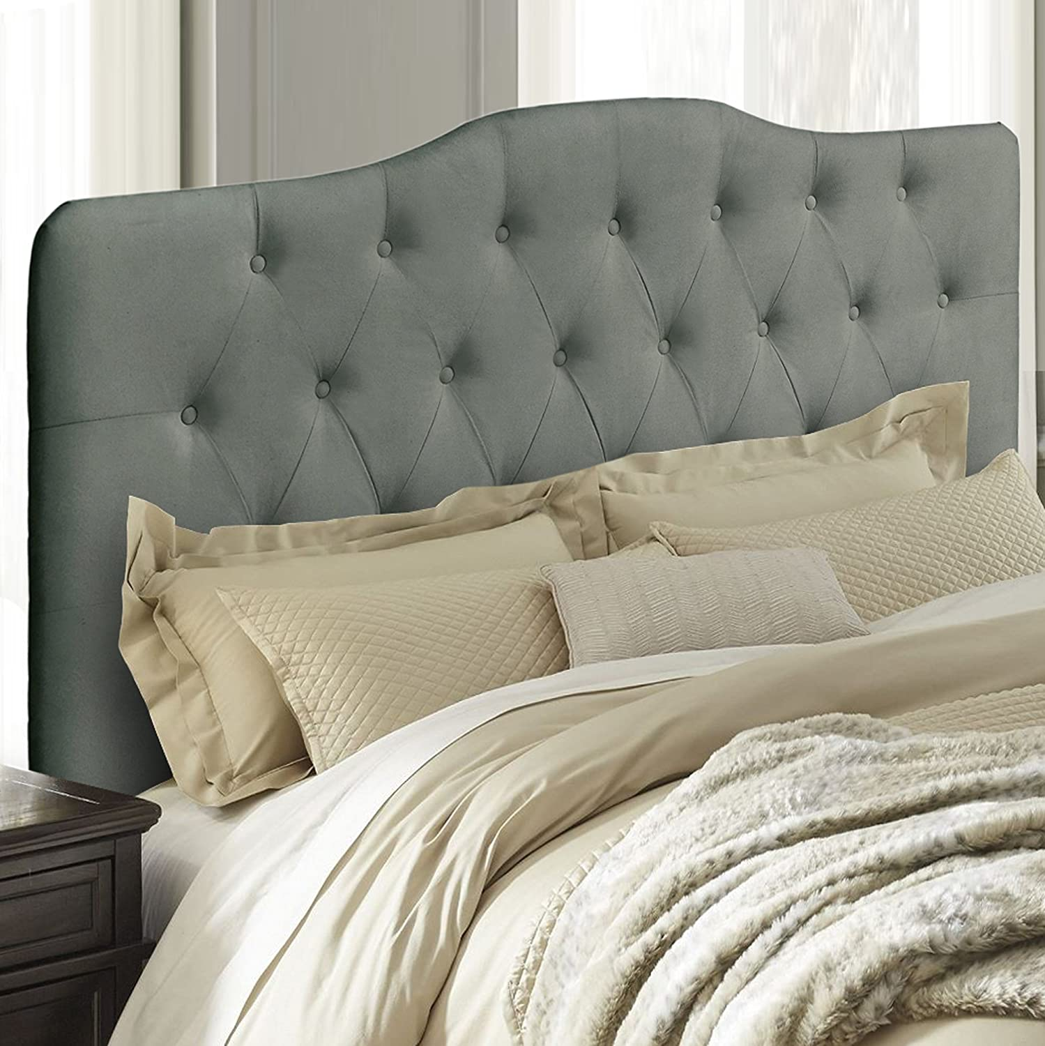Upholstered Tufted Fabric Headboard Queen, Gray