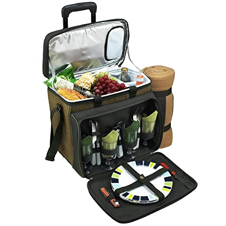 Picnic at Ascot Equipped Picnic Cooler On Wheels, Natural Forest Green