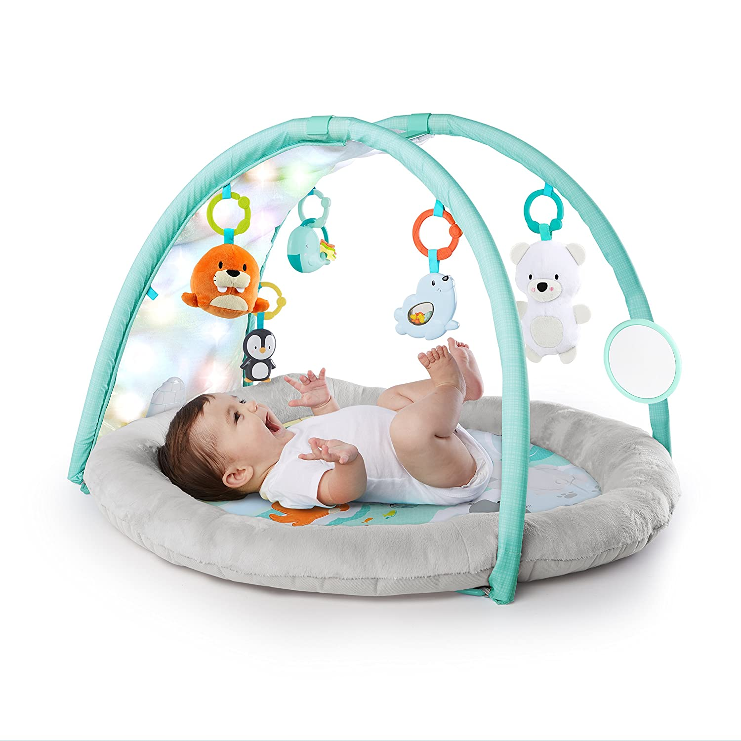 Bright Starts Arctic Glow Light Show Playmat Activity Gym with Lights and Melodies, Ages Newborn