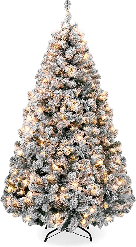 Amazon Com Best Choice Products 7 5ft Pre Lit Snow Flocked Artificial Holiday Christmas Pine Tree For Home Office Party Decoration W 550 Warm White Lights Metal Hinges Base Home Kitchen