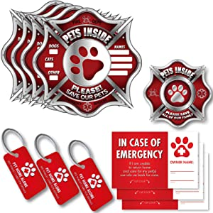 Vinyl Friend Pet Alert Stickers - FIRE Safety Alert and Rescue (5 Pack) - Save Your Pets encase of Emergency or Danger Pets in Home for Windows, Doors Sign (Small, DISP)