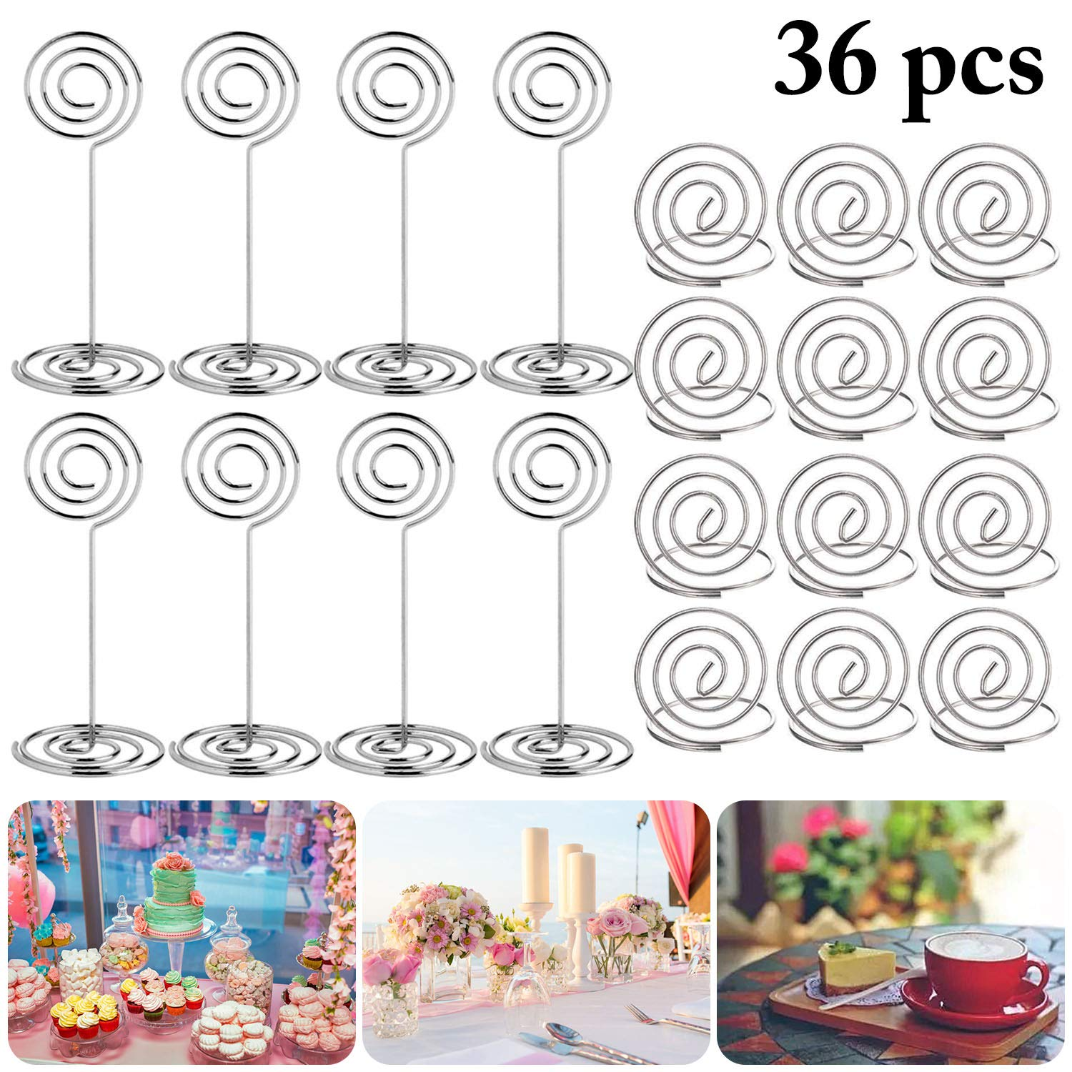 Place Holders, Outgeek 36PCS Table Number Holders Place Card Holders Desk Card Stand Clips Wire Table Picture Photo Holder Tabletop Postcard Menu Memo Name Card Recipe Centerpieces Number Photo Stands by Outgeek