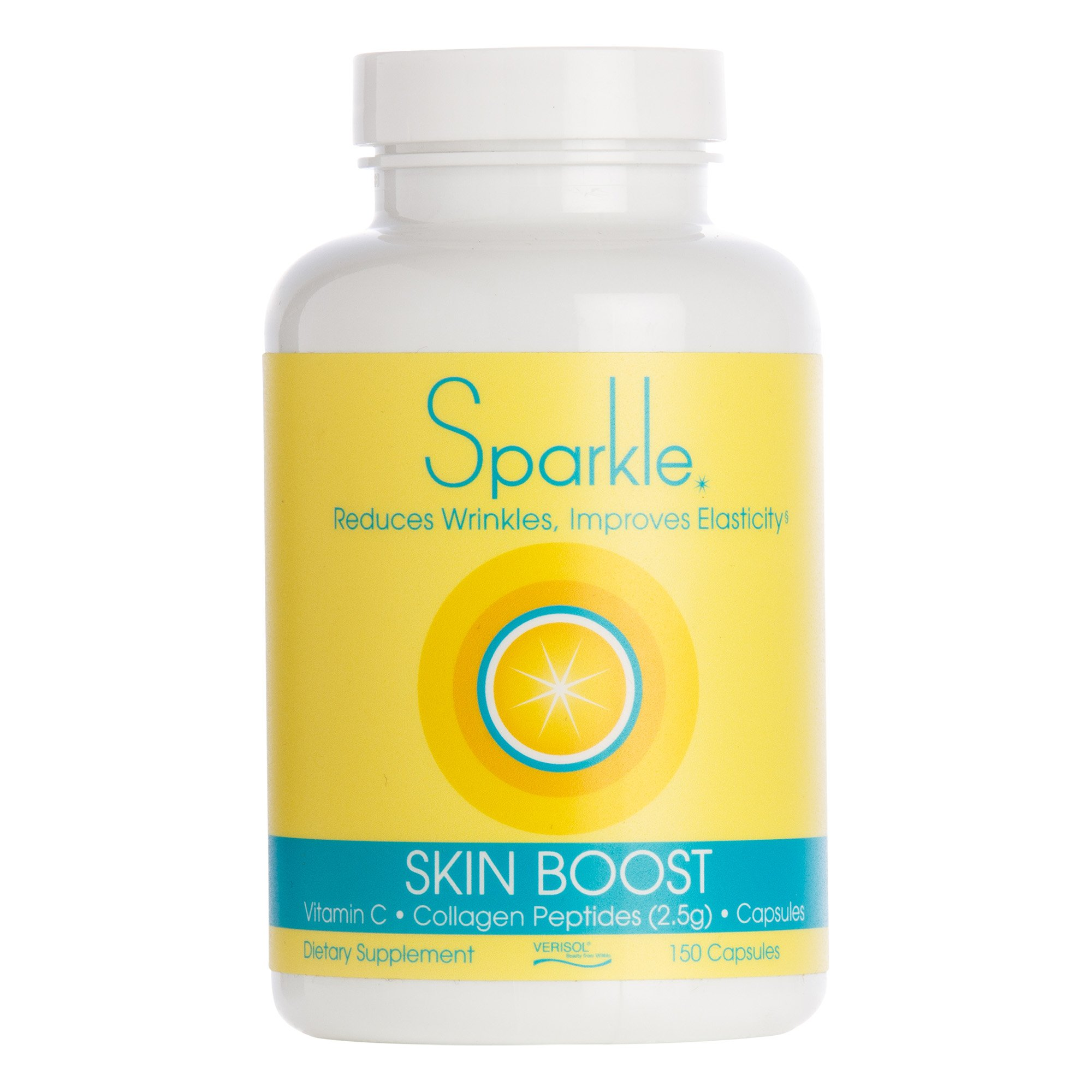 Sparkle Collagen Peptide Supplement Capsules 30 days Pills 2500mg featuring Verisol Bioactive Collagen Peptides,150 capsules