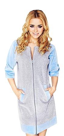 Women Luxury Soft Cotton Zip Up Housecoat Dressing Gown Dress Style Bathrobe  Blue 9c5929daf3de
