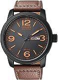 Citizen西铁城 BM8475-26E 男士 光动能黑色表盘棕色皮革表带腕表手表