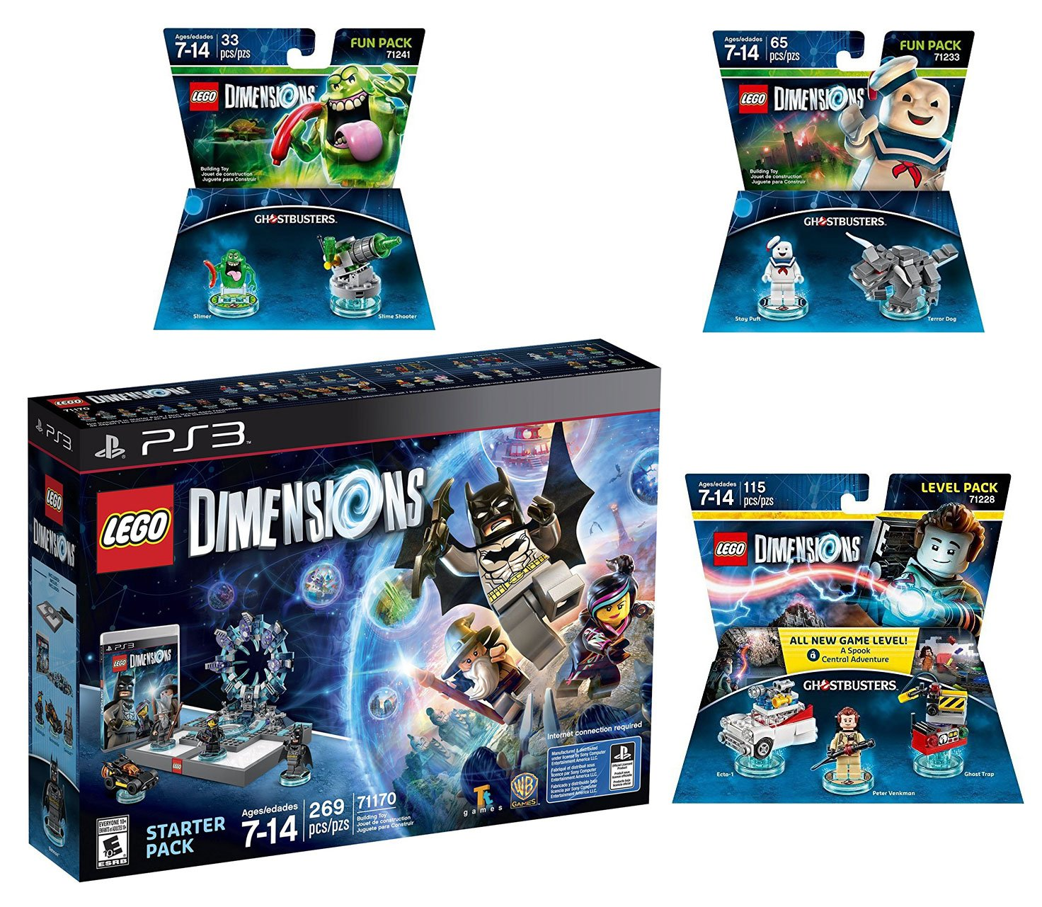 Lego Dimensions Ghostbusters Starter Pack + Peter Venkman Level Pack + Slimer + Stay Puft Fun Packs for Playstation 3 or PS3 Pro Console