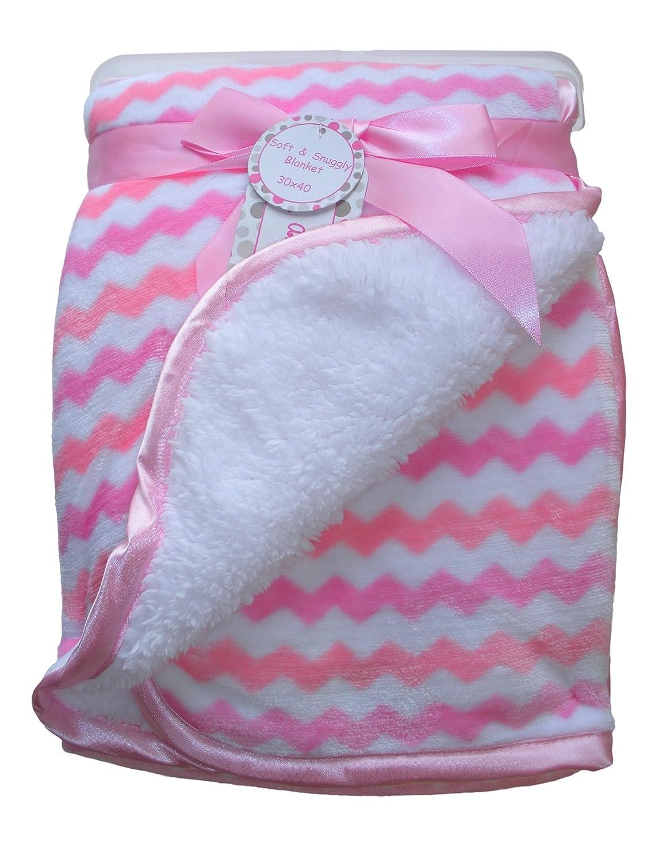 Zac /& Zoey HTB115-16-17 30 X 40 Inches Zak /& Zoey Ultra Soft Sherpa Chevron Baby Blanket Pink